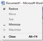 titlebar in ms word