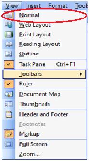 view menu in ms word in hindi