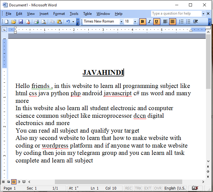 selecting text in MS word in hindi