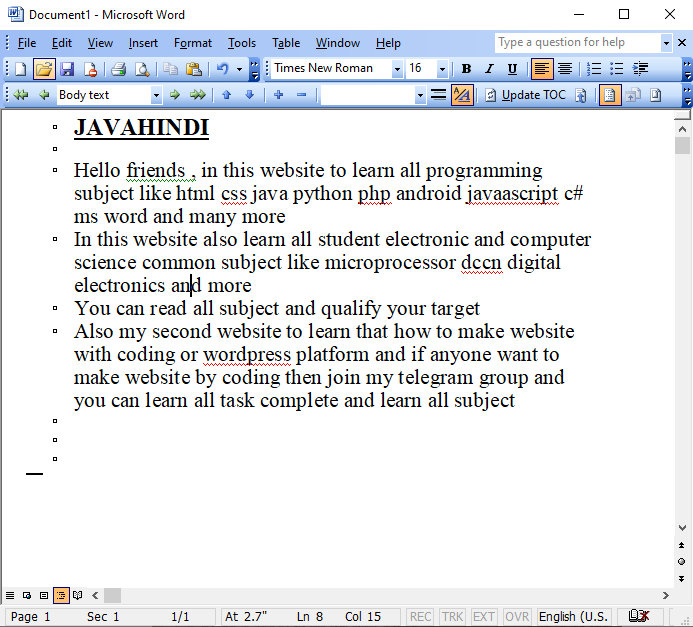 outline in ms word in hindi