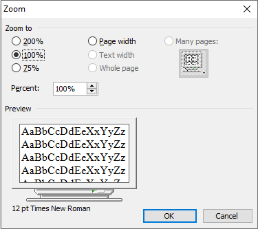 zoom in ms word in hindi