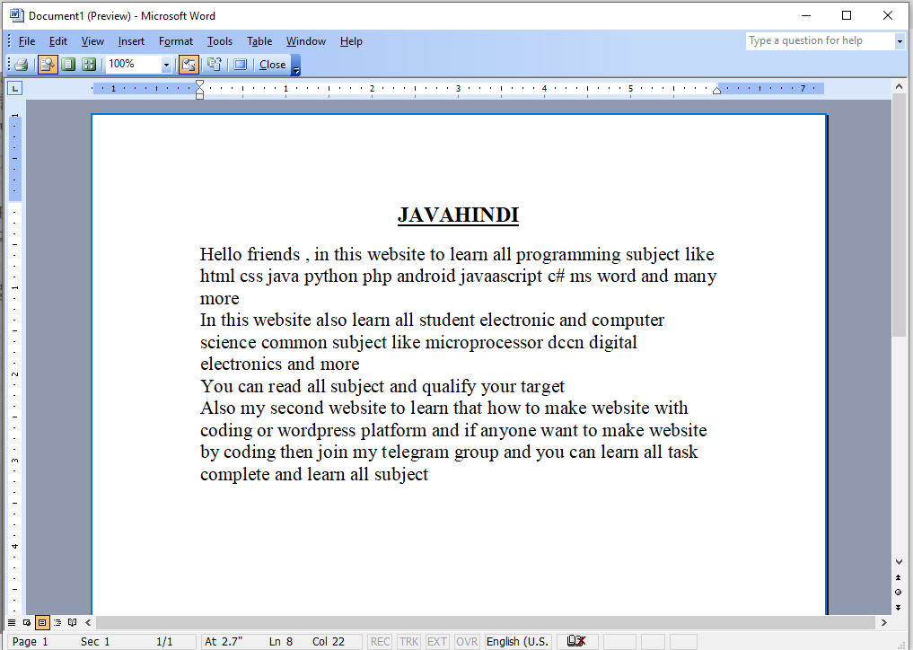 what is print preview in hindi